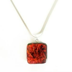 Red dichroic glass square on silver necklace